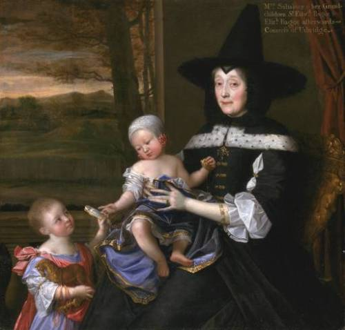 Portrait of Mrs Salesbury with her Grandchildren Edward and Elizabeth Bagot by John Michael Wright, 1675 England, Tate Britain