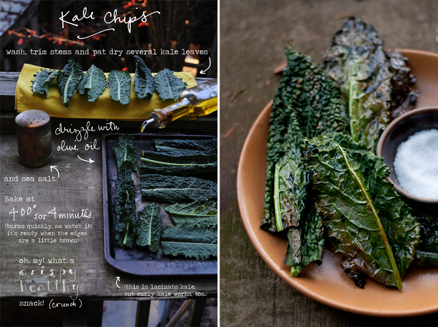 Kale Chips are an easy healthy snack to have before dinner, perhaps with a holiday cocktail!? All the crunchy satisfaction, and a little less guilt. They burn quickly, though, so watch them like a hawk. Four of five minutes in a hot oven does it, just until they get a little brown around the edges. Enjoy!