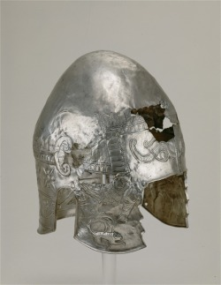 Greek Silver Helmet, 4th century BCE,  9-1/2 x 7-1/8 in. (height x width). Detroit Institute of Arts