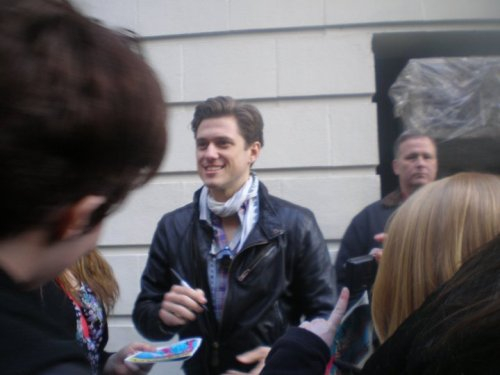Aaron Tveit at Stage door of Catch Me if You Can