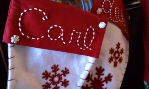 Personalize your stockings with beads and wire! Learn how on lauramakes.com