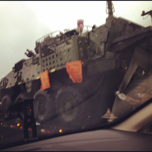 Nothing like driving on the 401 and randomly seeing a tank (Taken with instagram)