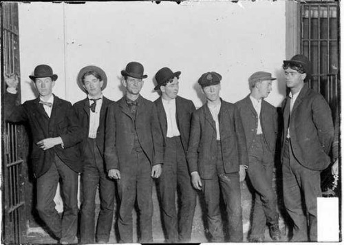 Arrest photo of a group of young men, crime unknown….c.1910's ?