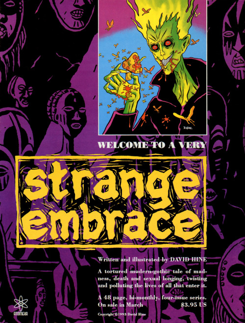 Promotional ad for Strange Embrace by David Hine, 1993.