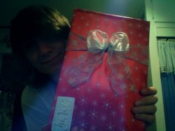 Wrapped my baby's christmas gift up all nice and pretty. :3