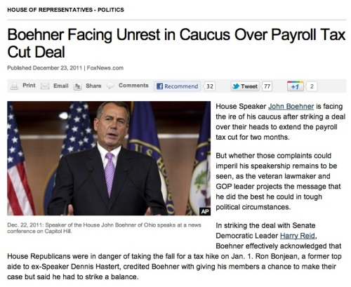 "John Boehner feeling pressure from caucus over payroll tax-cut fracas Boehner also felt pressure outside his caucus to not listen to his caucus, because they were about to hand Obama the election. All sorts of pundits have been saying this. For example, Karl Rove: ""I think the speaker retains the enthusiastic support of the vast majority of the people in his caucus. And the people who … in the last couple of days who have been upset with him are in no place to mount any kind of a coup or a leadership attempt."" Protip, John: Listen to Karl Rove."