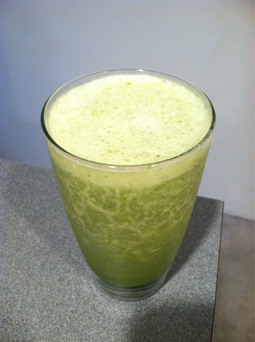 Juice / Smoothie of the Day - juiced half a grapefruit, an orange, and celery and blended with vanilla whey, banana, and spinach.