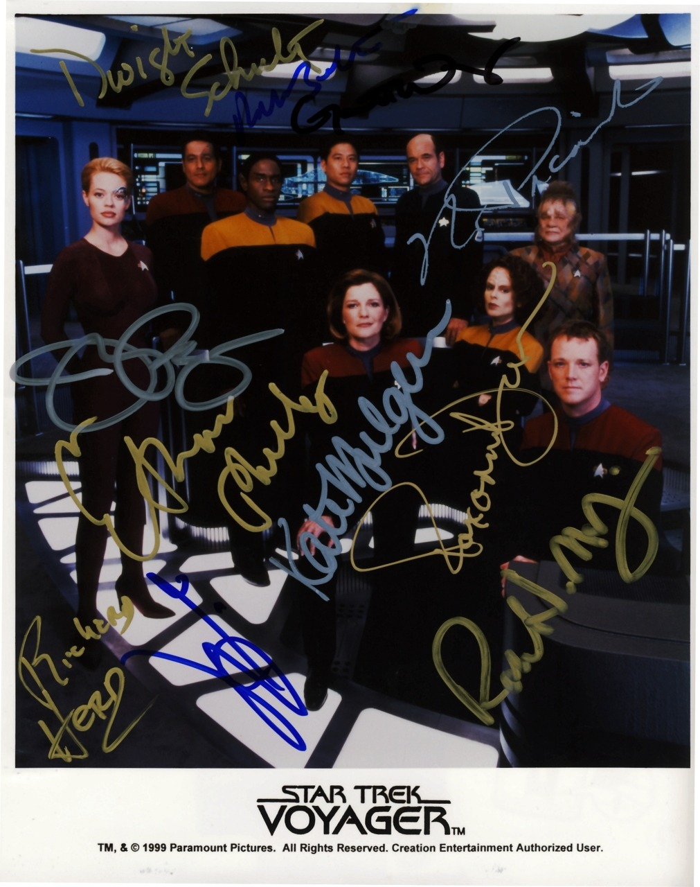 Completed (+2) Season 6 Cast Photo from Star Trek: Voyager. I started this cast photo in March of 2000, when I met Tim Russ and Garrett Wang.  The photo was at that time brand new, from that current in-progress season.  I then met Robbie McNeill, Roxann Dawson, Bob Picardo and Ethan Phillips that summer (2000).  Kate Mulgrew the following summer (2001), right after Voyager had ended.  Robert Beltran in 2005 (or was it 2006?) - which is also when I got Dwight Schultz (Reg Barclay) to sign it.  I do that.  I get repeat guest actors to sign my cast photos, because… I just do, lol.  I forget exactly when I got Richard Herd (Admiral Paris) to do likewise; but he signed it for free.  I think he liked the idea of being included.  :)  Finally, the summer of 2010 saw Jeri Ryan make a rare convention appearance.  Even rarer was that it was in my neck of the woods, the East Coast.  Jennifer Lien was also going to be there, but cancelled at the last moment. A 10 Year Journey to Completion. I still have a season 3 photo, which features Kes, that is in need of her signature only to be complete.  I have no guest stars on that one, but if I ever saw Martha Hackett (Seska) I would get her to sign such. ((Like This?  Check Out My Archive and Follow Me!))