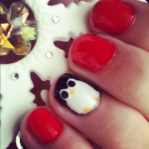 Red nails & penguins. Reminds me of Christmas! #penguins #nails #nailart #christmas  (Taken with instagram)