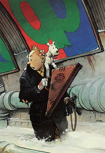 speaksick:   Tintin & Snowy by Enki Bilal   WHOA WHAT'S HAPPENING HERE? AND WHY DO I WANT TO KNOW MORE?  Enki Bilal; master of visual storytelling.