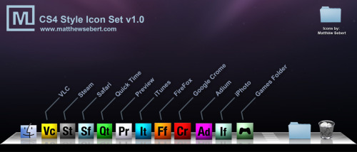 CS4 Style Icon set tailored for Mac but useable with PC. Icons by: Matthew Sebert Download them here: http://www.matthewsebert.com/downloads.html