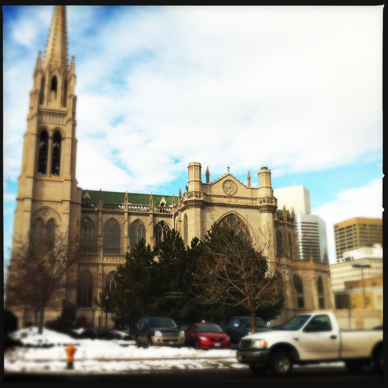 Loftus Lens First Use: Cathedral Taken with Hipstamatic, Loftus Lens, DC Film, No Flash.