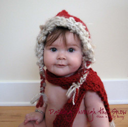 TrickyKnits Valentine's Day Dashing Through the Snow Funky Baby Hat & Scarf Set in Holly Berry LOADS of COLORS AVAILABLE - GREAT GIFT or PHOTOGRAPHY PROP by TrickyKnits Custom Props on Flickr.
