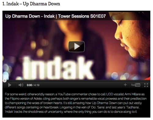 "updharmadown:  PhilCharts names ""Indak"" Best Song of 2011"