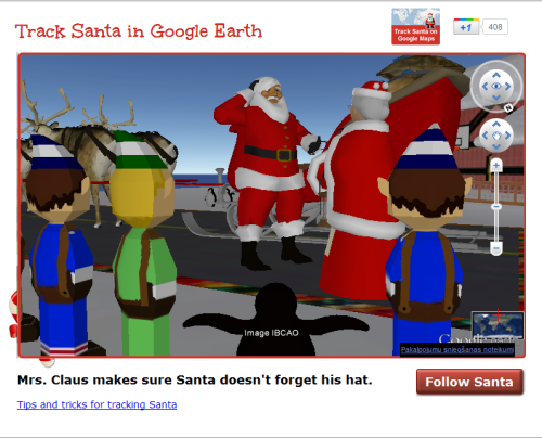 Look guys! IT'S SANTA!!!!!!!!!!!!!!! I'm tracking him on Google maps on his journey all around the world. Isn't that so sweet of Mrs. Claus? c:
