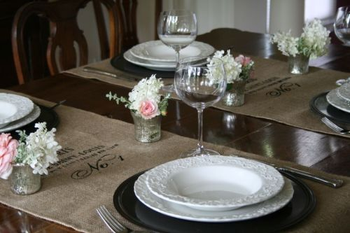 As of current, table runners are my favorite design element! As simplistic as they may seem, table runners have the ability to entirely shift a design scheme, adding life, texture and color to what one might consider a lackluster table. You can find the burlap table runner featured above on Etsy by EAB Designs!