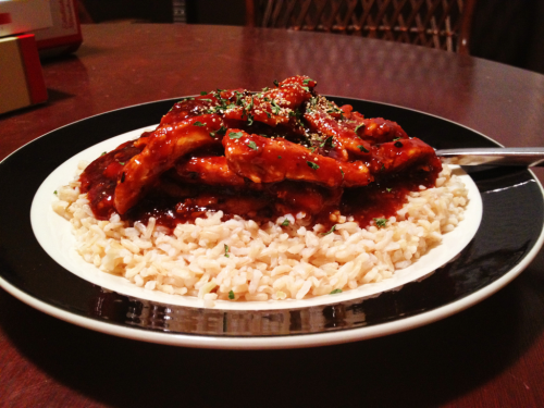 "Homemade orange ""chicken"" over brown rice."