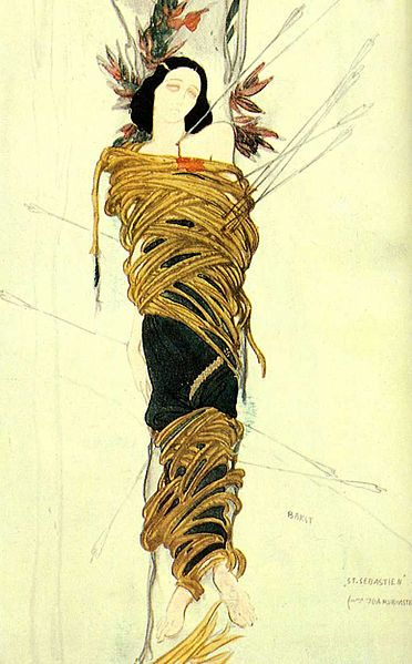 Costume design by Léon Bakst for Ida as Saint Sebastian  After leaving the Ballets Russes, Ida Rubinstein formed her own dance company, using her inherited wealth, and commissioned several lavish productions. In 1911, she performed in Le Martyre de Saint Sebastien. The creative team was Mikhail Fokine (choreography); Leon Bakst (design); Gabriele d'Annunzio (text) and score by Debussy. This was both a triumph for its stylized modernism and a scandal; the Archbishop of Paris prohibited Catholics from attending because St. Sebastian was being played by a woman and a Jew. [x] more on Ida Rubinstein more on Léon Bakst