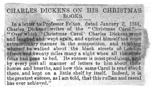Newspaper clipping pasted in. From the back matter of A Christmas Carol in Prose, Being a Ghost Story of Christmas by Charles Dickens (1845).