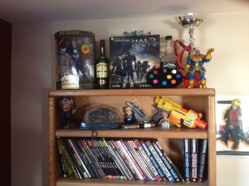My current shrine to nerddom and my vices. How many can you name?