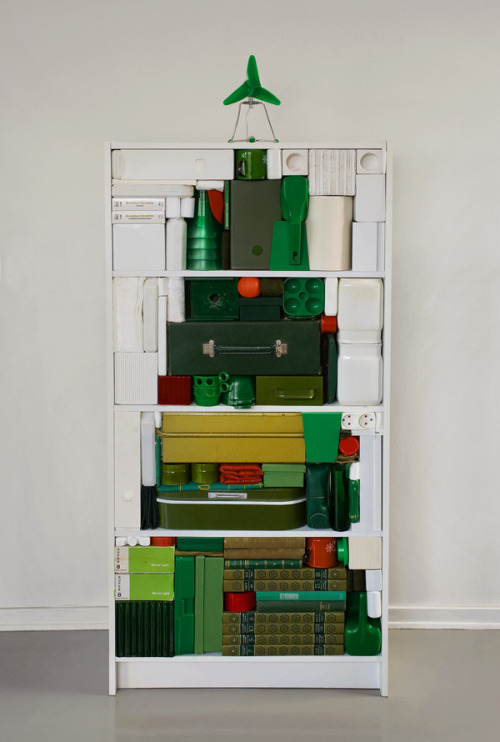 Michael Johansson. Shelf-made Christmas tree, 2009. (Johansson mentioned previously on Unconsumption here.) See also: other unconventional Christmas trees here.