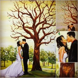 #Wedding Commission.           #painting by @jeremyworst                          This was painted to be displayed at the couples wedding and have different shades of green paint for the couples family and friends to dip there thumb or fingerprint in to put on the tree as leaves to symbolize them coming together. And it came out awesome after the wedding. #rare awesomeness lol (Taken with instagram)