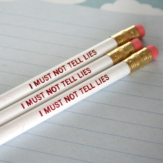 I Must Not Tell Lies Pencils. These pencils are made and engraved in the United States. Inspired by the Harry Potter series. Sold on Etsy. To see more Harry Potter merchandise, just click here.