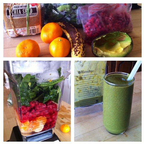 An incredibly tasty green-ish smoothie to start off the day. #vegan #food #raw #healthy  (Taken with instagram)
