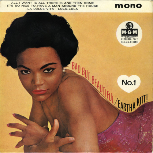 vintageblackglamour:  elizabitchtaylor:  Eartha Kitt- Bad But Beautiful EP, 1962  Eartha Kitt, Bad But Beautiful, 1962