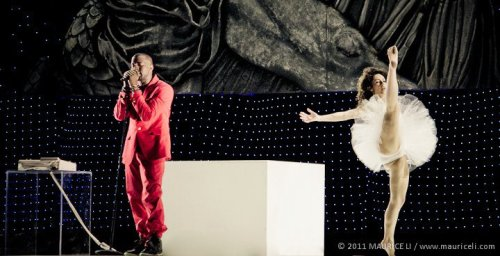 Miranda Maleski performing for Kanye West at Coachella 2011.