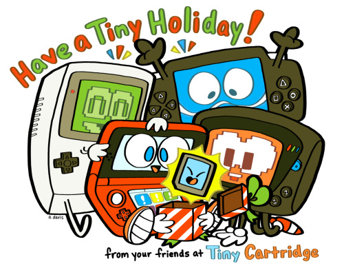tinycartridge:  Happy holidays from Tiny Cartridge! We hope Santa left you lots of portable games (or a console) under your tree! Why not share your Christmas spoils in our comments? This fabulous art, by the way, comes from the awesome Ashley Davis — who you might remember teamed up with us to create the Meteor Night cartridge art for this year's My Famicase exhibition. If you're not already following her personal or No Marios blog, you should! Buy: Nintendo 3DS console (Flame Red, Black, & Blue) Find: Nintendo DS/3DS release dates, discounts, & more See also: More Ashley Davis art