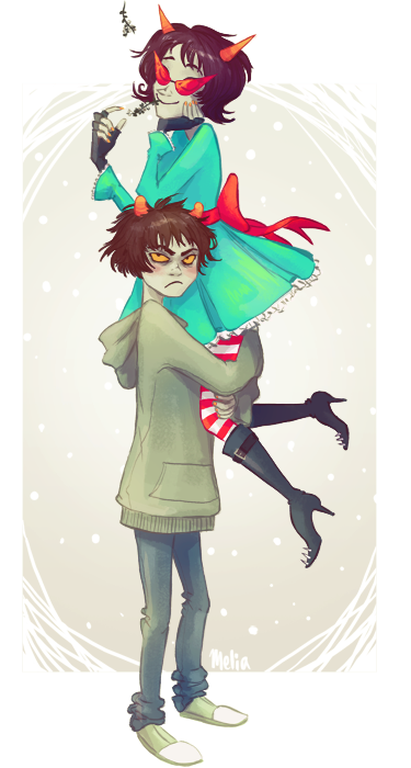 paperpie:  Karkat and Terezi couldn't figure out what mistletoe was. So Terezi ate it. [fullsize] Happy holidays everyone!   I was working on another Christmas pic for you guys but I ran out of time, I'm sorry! I hope you don't mind if I just bring back last year's instead. I really do love you guys <3