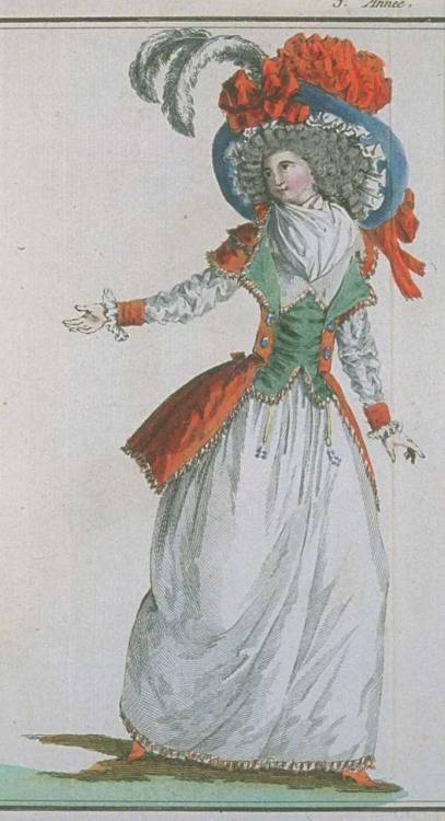 Magasin des Modes, February 1788. I LOVE this, especially all the fringe!