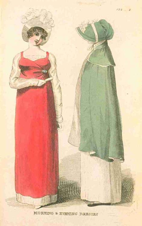 Fashions of London and Paris, December 1810. Pretty!  That green bonnet/cloak combo is particularly charming!