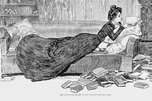 "gdfalksen:  A classic Gibson Girl, and a perfect Varanus image. Text: ""She looks for relief among some of the old ones."""