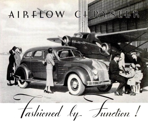 The Chrysler Airflow is an automobile produced by the Chrysler Corporation from 1934-1937. The Airflow was the first full-size American production car to use streamlining as a basis for building a sleeker automobile, one less susceptible to air resistance. Chrysler made the first effort at a fundamental change in automotive design with the Chrysler Airflow, but it was ultimately a commercial failure
