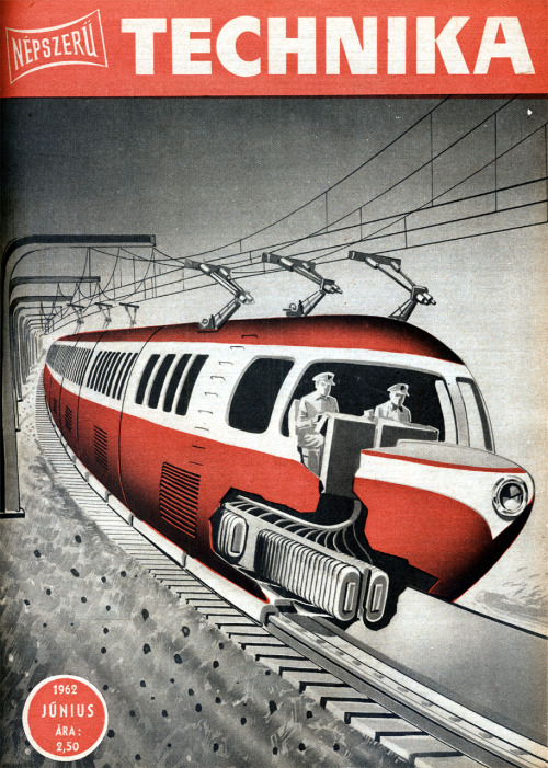 "Mágnesvasút. Népszerű Technika, 1962. június.Maglev train of the future. Cover of ""Popular Technics"" a hungarian monthly scientific magazine, June 1962."