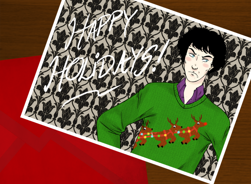 My Sherlock Secret Santa gift for bookworm91691. I think it came out freaking amazing, and I'm super proud. Just remember that I did this with my temperamental tablet that keeps disconnecting itself. I have overcome unreliable electronics to create…A TACKY CHRISTMAS JUMPER! (I would actually love it irl because it's so awful.) MERRY HOLIDAYS EVERYONE!