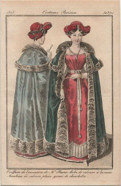Journal des Dames et des Modes, 1825. What a magnificent cloak!  She looks cozy enough for a sleigh ride, though she would probably need a furrier turban.