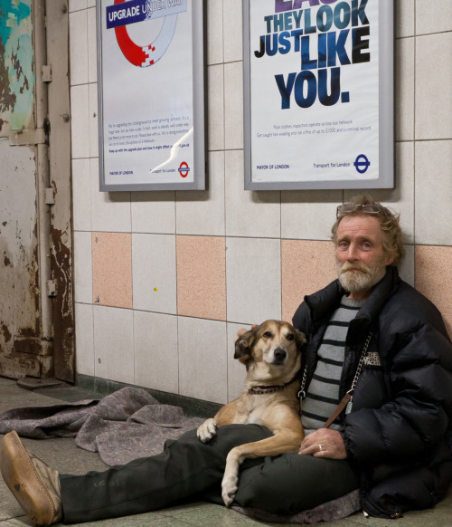They Look Just Like You Charlie 59 & Shannon the dog Tottenham Court Road Station London.