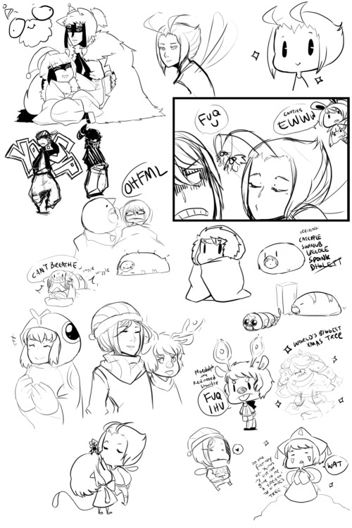 XMAS DOODLE DUMP!!! And the canon things that came out of this are: Selle is a holiday man and he likes to mess with everyone with mistletoes and make the world's biggest Xmas tree out of Moe's tree Yireh is the star on top of the tree JK Moe is NOT a holiday man Din owns giant sleeping bags for the winter and crawls in them all day (caterpie is her favorite) Jiro hates said sleeping bags and detests bug types Din is secretly the newest bug eeveelution BEST CANONS EVER RIGHT