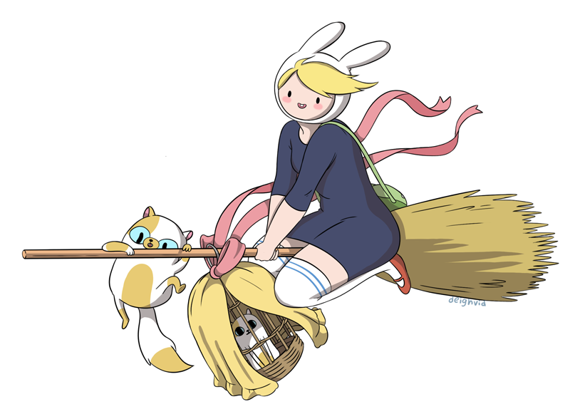 deighvid:  Part 3 of my Ghibli/Adventure Time crossovers. This one was pretty fun. Kiki's Delivery Service is one of my favorites, and Cake got to be in it!Merry Christmas guys! (: