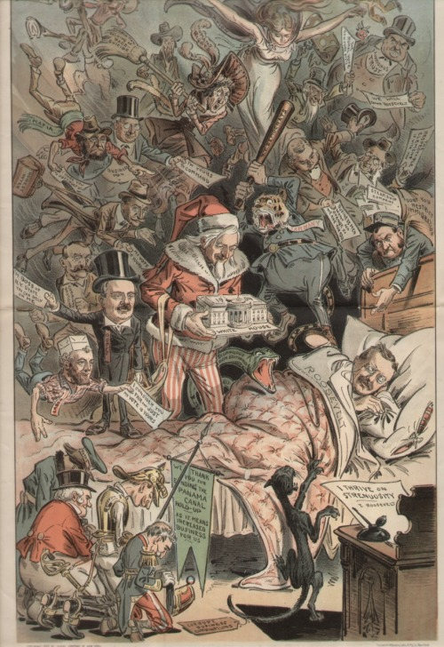 (via Super I.T.C.H » Blog Archive » Teddy Roosevelt's Christmas Dreams)  Coming Events Cast Their Dreams Before, from the December 26th, 1903 issue of Judge magazine, depicting President Teddy Roosevelt, dreaming on Christmas Eve of his hoped for re-election in 1904.