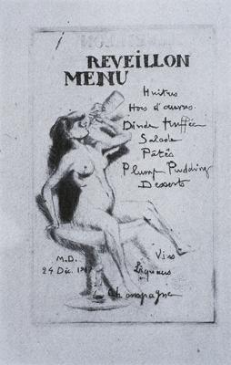 Christmas Eve Menu from 1947Marcell Duchamp
