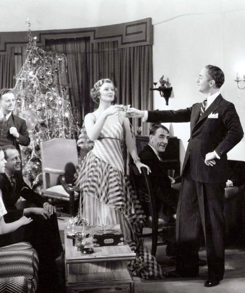 "oldhollywood:  Myrna Loy & William Powell in The Thin Man (1934, dir. Woody Van Dyke) (via) She grinned at me. ""You got types?"" ""Only you, darling - lanky brunettes with wicked jaws."" -Dashiell Hammett, The Thin Man (1929)"