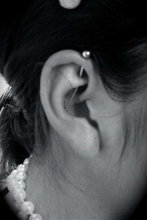 Industrial piercing done by Ruth at Industrial Primitives in Austin, TX.