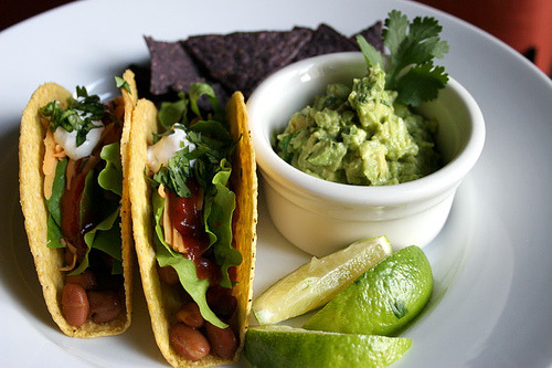 cravingsforfood:  Vegan tacos, guacamole, and blue corn tortilla chips.