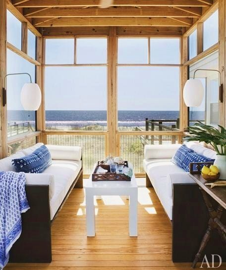 georgianadesign:  Screened porch right on the beach. AD.