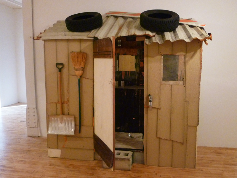 The excellent group show Broken Homes at Momenta Art (through January 22) features this new installation from Lisa Kirk's House of Cards series.
