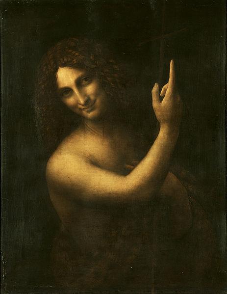 """Ressam: Leonardo da Vinci (1452-1519) Resmin Adi: St. John the Baptist (158) Nerede: Louvre, Paris, Fransa Boyutu: 69cm x 57cm St.John (Aziz Yahya) portresi,Mona Lisa kadar ünlü olmasa da, Leonardo'nunbir o kadar çarpıcı olan portresidir. St.John'un yüzündeki gülümse, Mona Lisa'ya göre biraz daha belirgin. Leonardo'nun bu el yukarıda cenneti işaret eden St.John resmi ilk değil, bunu kullanmayı seviyor. Vaftiz edilin ve cennette yerinizi hazırlayın mesajı. Bu ifadeyi çok sevdiğim vintage Amerikan ilanlarına benzetiyorum. Coca Cola içerseniz yaşayacağınız mutluluğu işaret eden ev kadını gibi… Resim tahta üzerinde boyalı ve cilalı olduğundan oldukça karanlık kalmış günümüzde. St.John sağ eliyle yukarı işaret ederken, sol eliyle de kendine dayayıp yukarı tuttuğu kırmızı bir haç var. Bu kırmızı haç, mesajı güçlendirmek için sonradan bir başka ressam tarafından eklenmiş diye düşünülüyor. Bu linke tıklayarak resmi daha detaylı görebilir, alttaki seçenekleri kullanarak kızılötesi ışınla ve x-ray ile resimde neler olduğunu görebilirsiniz. Hatta yine sol altta """"color"""" yazan bar üzerinde ilerlerseniz resmin altındakileri yavaş yavaş belirginleştirip, neler olduğunu daha iyi anlayabilirsiniz. Leonardo'nun bıraktığı izlerden resimde en çok sağ el ve ağızla uğraştığını göreceksiniz. X-ray resimde, St.John'un işaret ettiği, bir taç altında tersten yazılmış RC harflerini görünce, bunun Leonardo'nun sakladığı bir mesaj olduğunu sanıp heyecanlanmayın. Resim 17. yüzyılda İngiliz Kraliyet Koleksiyonu'na (British Royal Collection) aitmiş, RC harfleri sadece x-ray'de görülebilecek bir damga sadece.Leonardo'nun hayatını Kayalıklardaki Bakire resmi vesilesiyle25 Nisan'da anlatmıştım.25 Haziran'da Mona Lisa'yı,25Ağustos'ta The Last Supper, 25 Ekim'de ise kırmızı tebeşirle yaptığı oto-portresini anlatmıştım. Hatırlamak isterseniz tarih linklerine tıklayın."""